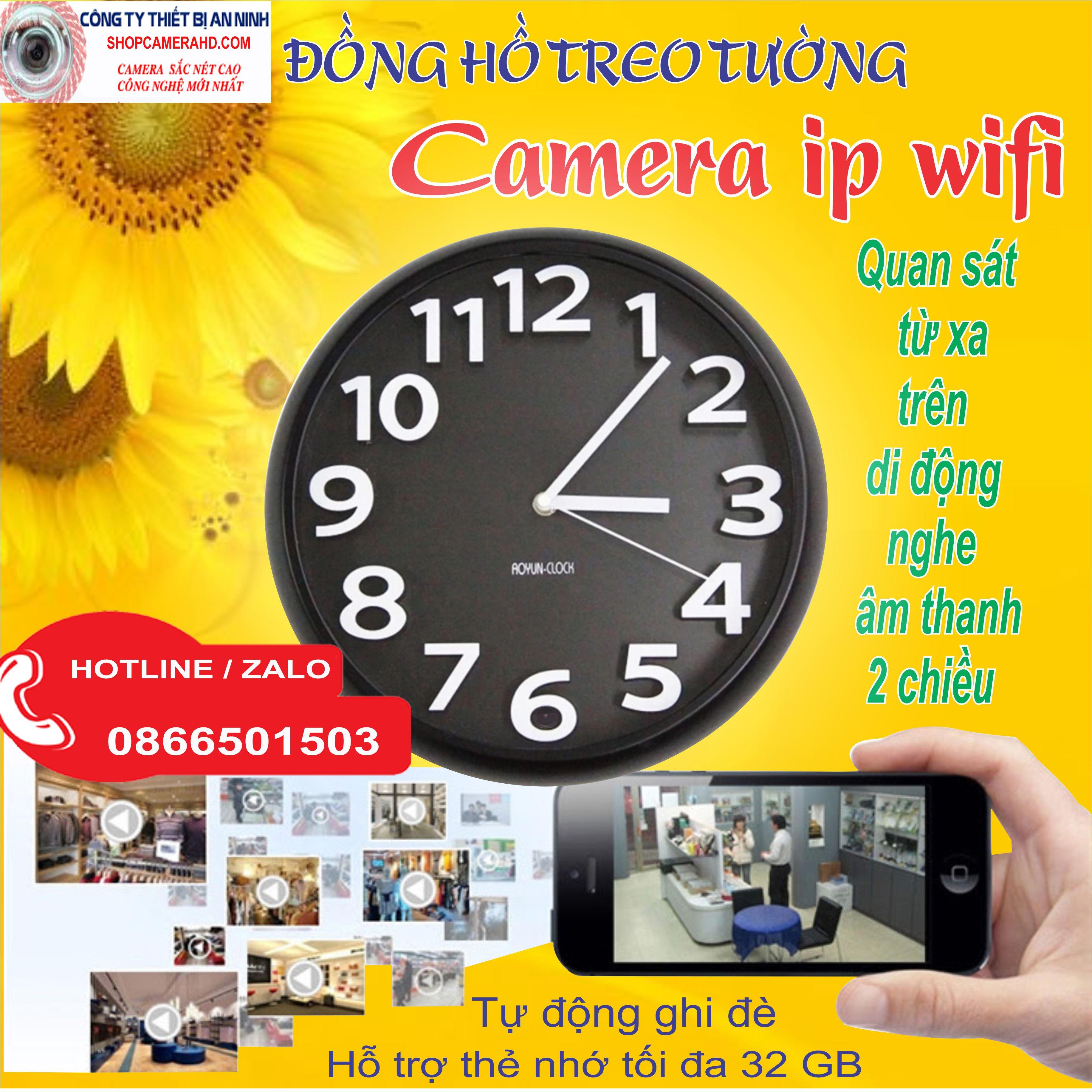camera wifi ngụy trang đồng hồ treo tường quan sát qua điện thoại